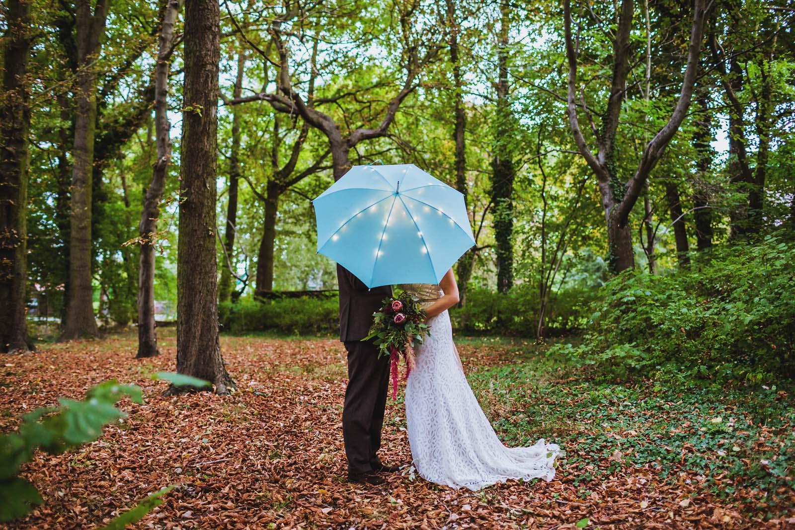 Brautpaar unterm Schirm beim Fotoshooting mit Hochzeitsfotograf Spreewald Copyright by Hochzeitsfotograf www.berliner-hochzeitsfotografie.de